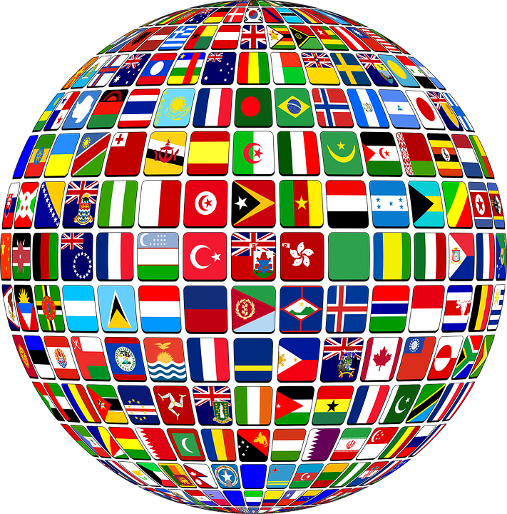 image of globe with flags of the world